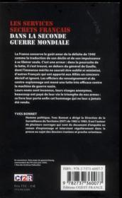 Les services secrets francais dans la Seconde Guerre mondiale - 4ème de couverture - Format classique