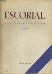 Escorial, Revista De Cultura Y Letras, N°6, Tomo Iii, Abril 1941 - Couverture - Format classique
