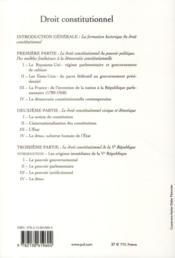 Droit constitutionnel (6e édition) - 4ème de couverture - Format classique