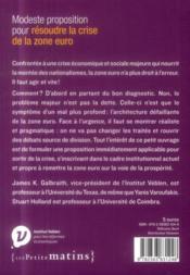 Modeste proposition pour résoudre la crise de la zone euro - 4ème de couverture - Format classique