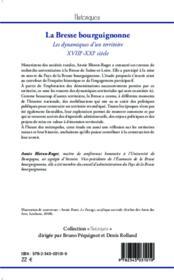 La Bresse bourguignonne ; les dynamiques d'un territoire ; XVIIIe-XXIe siècle - 4ème de couverture - Format classique