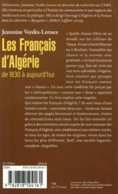 Les français d'Algérie - 4ème de couverture - Format classique