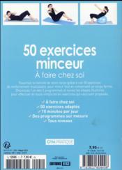 50 exercices minceur à faire chez soi - 4ème de couverture - Format classique
