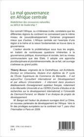 La mal gouvernance en Afrique centrale ; malédiction des ressources naturelles ou déficit de leadership ? - Couverture - Format classique