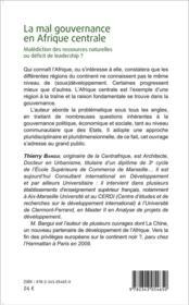 La mal gouvernance en Afrique centrale ; malédiction des ressources naturelles ou déficit de leadership ? - 4ème de couverture - Format classique