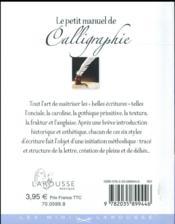 Le petit manuel de la calligraphie - 4ème de couverture - Format classique