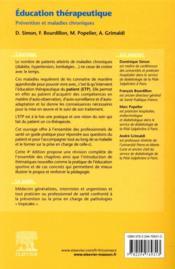 Éducation thérapeutique ; prévention et maladies chroniques (4e édition) - 4ème de couverture - Format classique