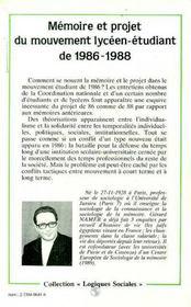 Memoire Et Projet Du Mouvement Lyceen..1986-1988 - 4ème de couverture - Format classique