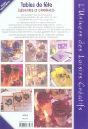 Tables de fête élégantes et originales - 4ème de couverture - Format classique
