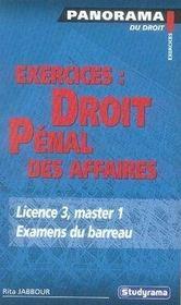 Exercices : droit pénal des affaires - Intérieur - Format classique
