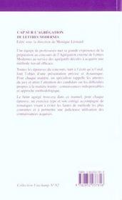 Cap Sur L'Agregation De Lettres Modernes - 4ème de couverture - Format classique