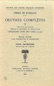 Tome iii - ode de la paix, tombeau de marguerite de valois, cinquieme livre des - Couverture - Format classique