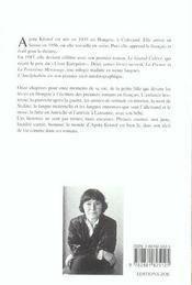 L'analphabète ; recit autobiographique - 4ème de couverture - Format classique