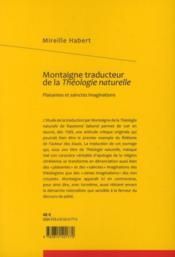 Montaigne traducteur de la Théologie naturelle ; plaisantes et sainctes imaginations - 4ème de couverture - Format classique