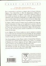 La Religion Dans La France Moderne Xvi-Xviii Siecle - 4ème de couverture - Format classique