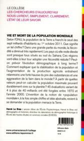 Vie et mort de la population mondiale - 4ème de couverture - Format classique