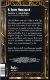 Gatsby le magnifique - 4ème de couverture - Format classique