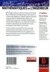 Aide-mémoire de mathématiques de l'ingénieur (3e édition) - 4ème de couverture - Format classique