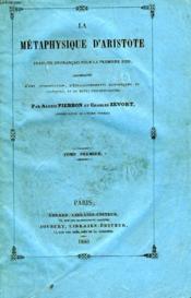 La Metaphysique D'Aristote, Tomes I & Ii - Couverture - Format classique
