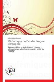 Didactique de l'arabe langue étrangère - Couverture - Format classique