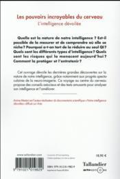 Les pouvoirs incroyables du cerveau ; l'intelligence dévoilée - 4ème de couverture - Format classique