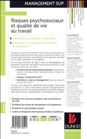 Risques psychosociaux et qualité de vie au travail ; nouvelle approche des contextes professionnels - 4ème de couverture - Format classique