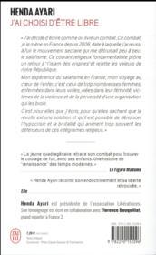 J'ai choisi d'être libre ; rescapée du salafisme en France - 4ème de couverture - Format classique
