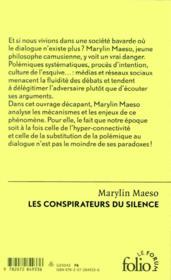 Les conspirateurs du silence - 4ème de couverture - Format classique