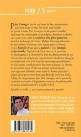 Prier 15 jours avec... T.180 ; Pier Giorgio Frassati - 4ème de couverture - Format classique