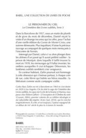 Le cimetière des livres oubliés t.3 ; le prisonnier du ciel - 4ème de couverture - Format classique
