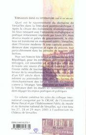 Versailles dans la littérature ; mémoire et imaginaire aux XIX et XX siècles - 4ème de couverture - Format classique