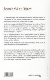 Benoît XVI et l'Islam - 4ème de couverture - Format classique