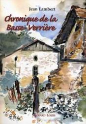 Chronique de la Basse-Verrière - Couverture - Format classique
