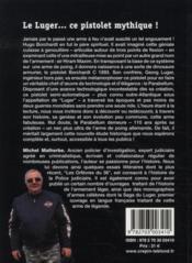 Les pistolets Luger, histoire du Parabellum - 4ème de couverture - Format classique