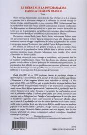 Le débat sur la psychanalyse dans la crise en France t.1 ; Onfray, Janet, Reich, Sartre, Politzer... - 4ème de couverture - Format classique