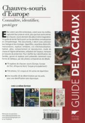Chauves-souris d'Europe : connaître, identifier, protéger - 4ème de couverture - Format classique