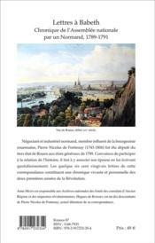 Lettres à Babeth ; chronique de l'assemblée nationale par un normand ; 1789-1791 - 4ème de couverture - Format classique