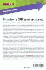Organiser le crm dans l'assurance - 4ème de couverture - Format classique