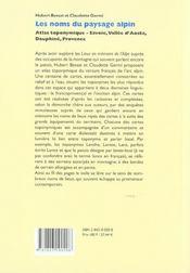Les noms du paysage alpin ; atlas toponymique, Savoie, vallée d'Aoste, Dauphiné, Provence - 4ème de couverture - Format classique