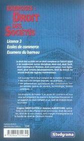 Exercices : droit des sociétés - 4ème de couverture - Format classique