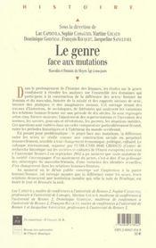 Le genre face aux mutations [actes du colloque international tenu en septembre 2002 a l'universite r - 4ème de couverture - Format classique