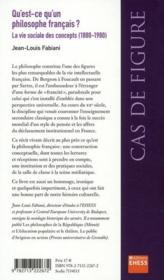 Qu'est-ce qu'un philosophe français ? - 4ème de couverture - Format classique