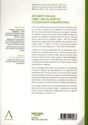 Sécurité sociale, libre circulation et citoyennetés européennes - 4ème de couverture - Format classique