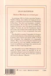 Robert Mitchum ne revient pas - 4ème de couverture - Format classique