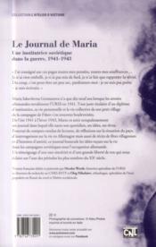 Le journal de Maria ; une institutrice soviétique dans la guerre ; 1941-1944 - 4ème de couverture - Format classique