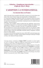 L'adoption à l'international ; un état des lieux en France - Couverture - Format classique