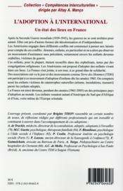 L'adoption à l'international ; un état des lieux en France - 4ème de couverture - Format classique