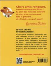 Geronimo Stilton T.57 ; le vélo, c'est pas pour les ramollos ! - 4ème de couverture - Format classique