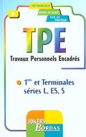Tpe ; Travaux Personnels Encadres ; 1e Et Terminale L Es S - Intérieur - Format classique
