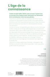 L'âge de la connaissance - 4ème de couverture - Format classique